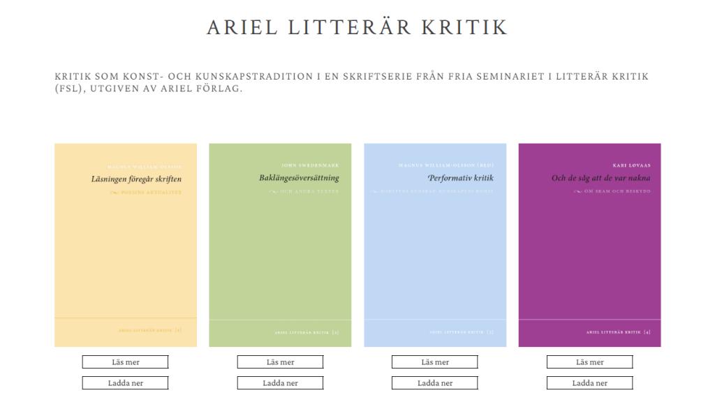 Webbsida Ariel Litterär Kritik